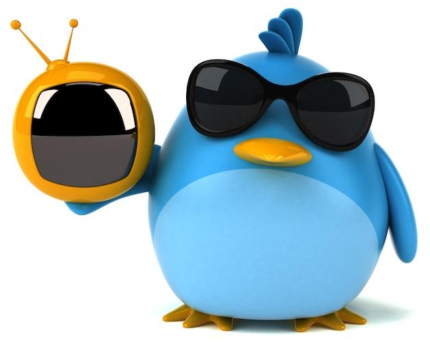 Błękitny ptak - 3d ilustracja