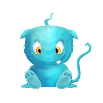 Błękitny śliczny kreskówka śmieszny potwór na bielu