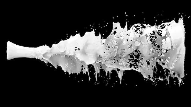 Bliska białego mleka płynnego rozpryskiwania na czarno