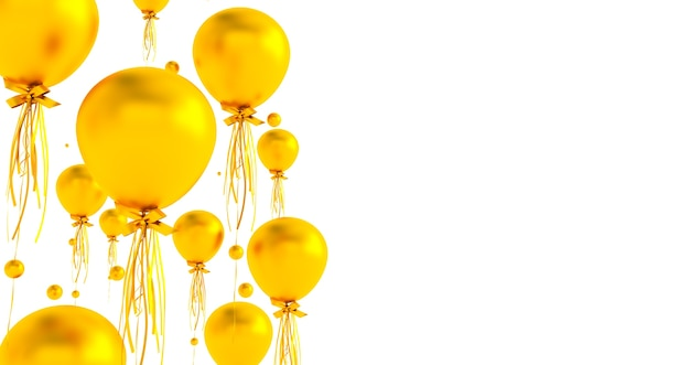 Bliska i streszczenie 3d złotych balonów, renderowania 3d, balony na białym tle.