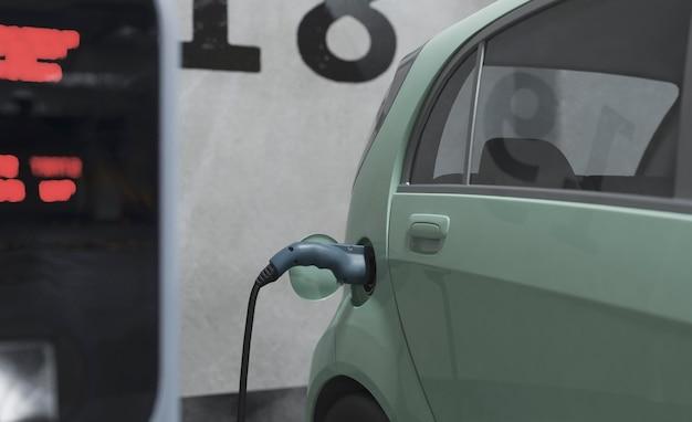 Bliska ładowanie modelu samochodu elektrycznego