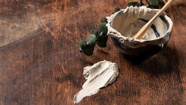 Bliska mieszanina tekstury gliniane doniczki