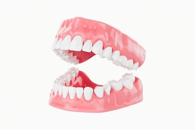 Bliska piękno zębów opieki zdrowotnej. selektywne ustawianie ostrości. renderowanie 3d.
