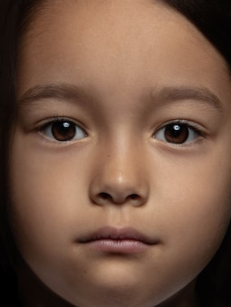 Bliska portret dziewczynki azjatyckie małe i emocjonalne. bardzo szczegółowa sesja zdjęciowa modelki o zadbanej skórze i jasnym wyrazie twarzy. pojęcie ludzkich emocji.