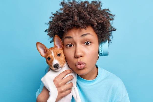 Bliska strzał ślicznej ciemnej skóry młodej kobiety trzyma złożone usta trzyma małego rodowodowego szczeniaka w pobliżu twarzy wyraża miłość do zwierzaka słucha muzyki przez bezprzewodowe słuchawki na białym tle nad niebieską ścianą