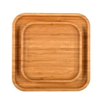 Bliska zestaw dwóch pustych brązowych bambusowych drewnianych talerzy lub tacek na żywność na białym tle, podwyższony widok z góry, bezpośrednio nad