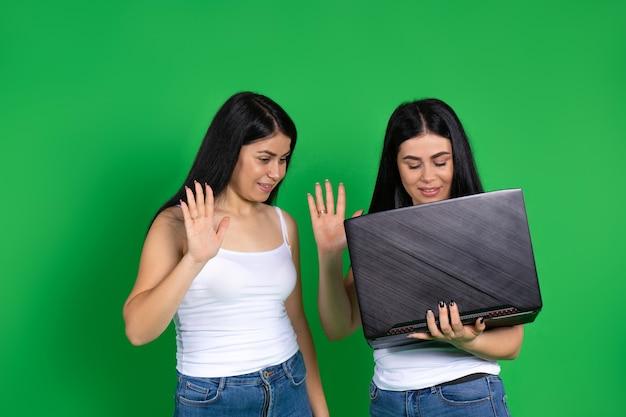 Bliźniacze kobiety komunikują się przez wideo na laptopie