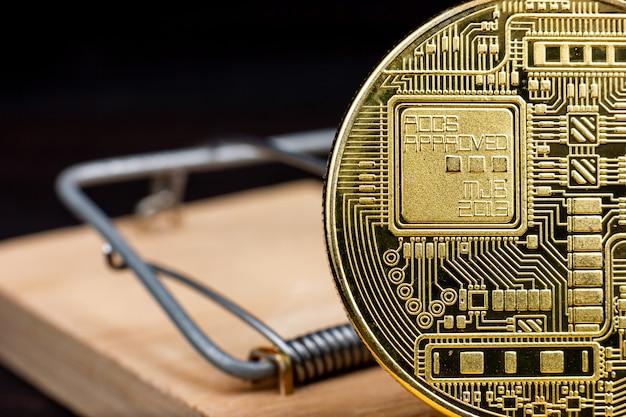 Blockchain bitcoin coin kryptowaluta złota moneta cyfrowy zasób