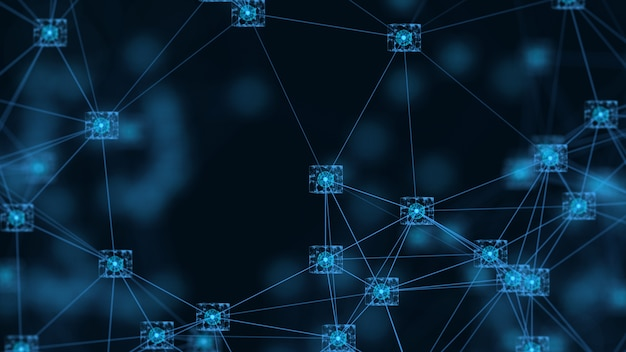 Blockchain sieci pojęcie isometric cyfrowych bloków kwadratowego kodu dane duży związek