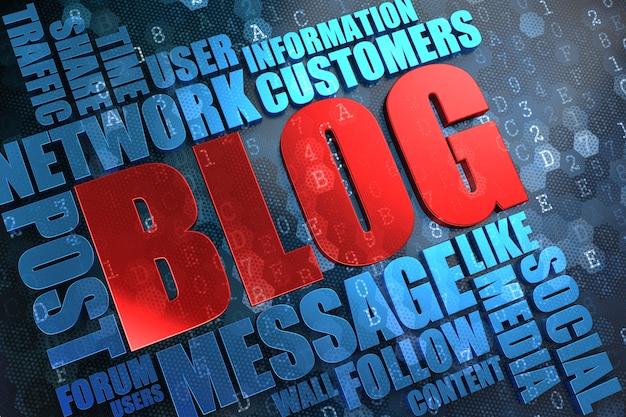 Blog - czerwony główny wyraz z niebieskim wordcloud na cyfrowym tle.