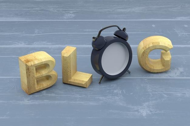 Blog słowo z zegarem na drewniane tła. renderowanie 3d