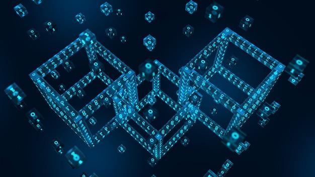 Blok cyfrowy 3d z cyfrowym kodem. renderowanie 3d blockchain.