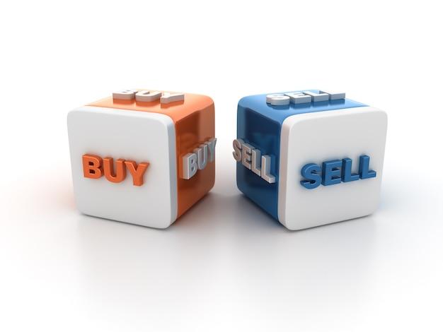 Bloki kafelkowe ze słowami kup sprzedaj
