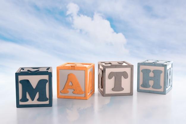 Bloki konstrukcyjne alfabetu, które pisowni bloków matematycznych word na tle chmur. renderowanie 3d