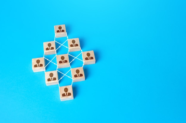 Bloki połączonych ludzi. pojęcie porządku i jednolitej struktury