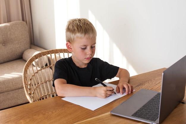 Blond chłopiec czerpie z lekcji online.