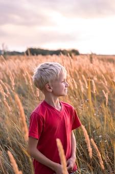 Blond chłopiec na polu z kłoskami trawy o zachodzie słońca, spogląda w dal i uśmiecha się