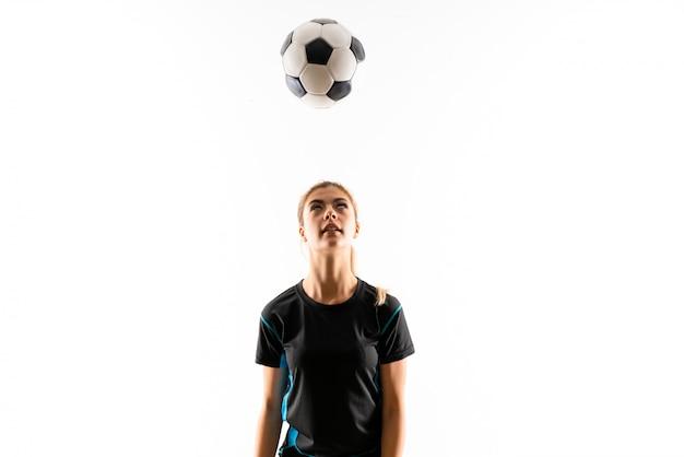 Blondynka gracza futbolu nastolatka dziewczyna