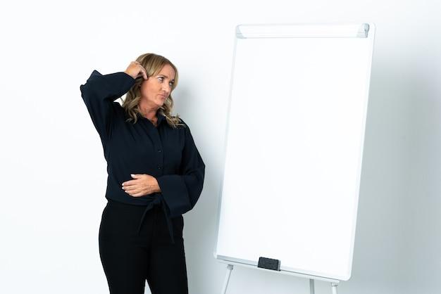 Blondynka w średnim wieku na białym tle, przedstawiająca prezentację na tablicy i mająca wątpliwości z wyrazem twarzy zdezorientowanej