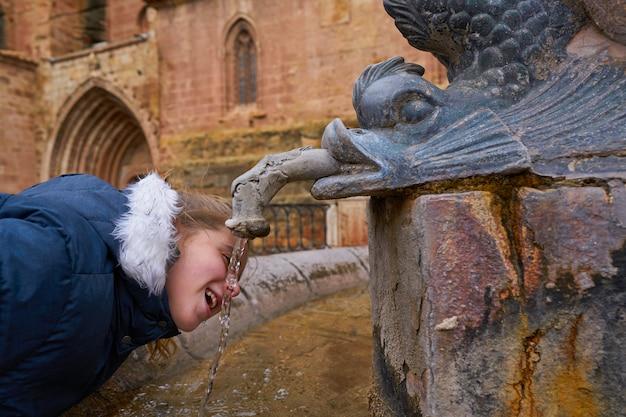 Blondynu dzieciaka dziewczyny pije w starej średniowiecznej fontannie