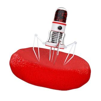 Blood nano robot z aparatem, pazurami i igłą nad komórką krwi na białym tle. renderowanie 3d.