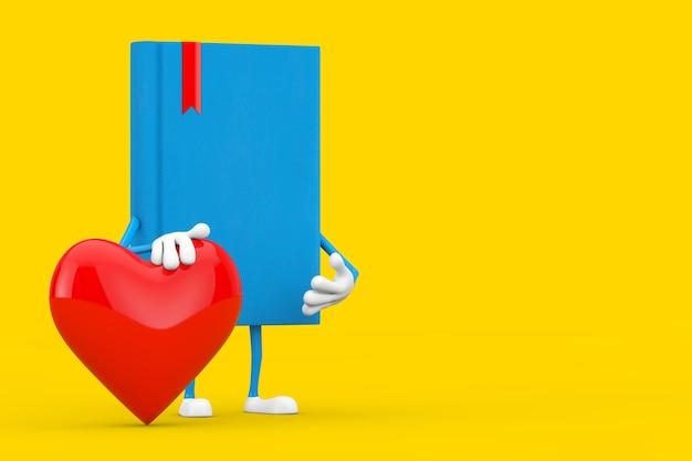Blue book charakter maskotka z czerwonym sercem na żółtym tle. renderowanie 3d