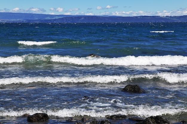 Blue lake taupo w nowej zelandii