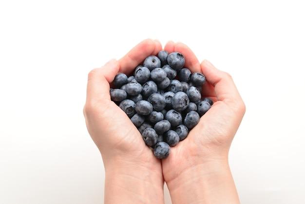 Bluepberry trzymane w rękach na białym tle.