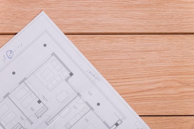 Blueprint na drewnianej podłodze
