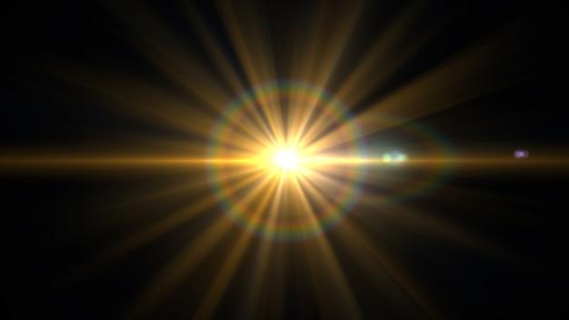 Błysk światła obiektywu na czarnym tle.