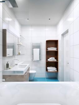Błyszcząca biała łazienka w high-tech