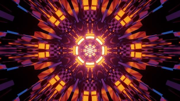 Błyszcząca futurystyczna abstrakcyjna ilustracja 3d kolorowy wzór geometryczny ze świecącymi neonowymi kręgami i lśniącymi liniami jako projekt wnętrza fantastycznego tunelu kosmicznego science fiction