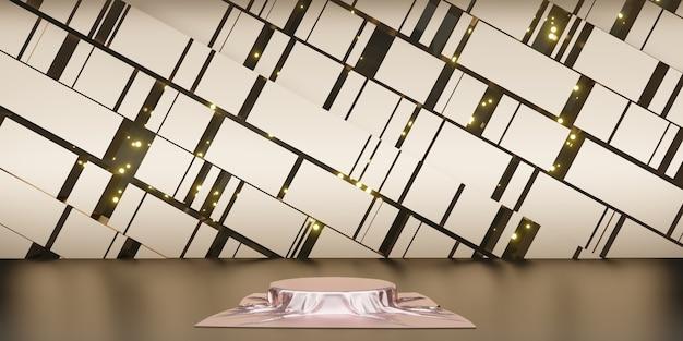 Błyszcząca satyna elegancko umieszczona na podium lub pustej półce podium luksusowa koncepcja tło galerii