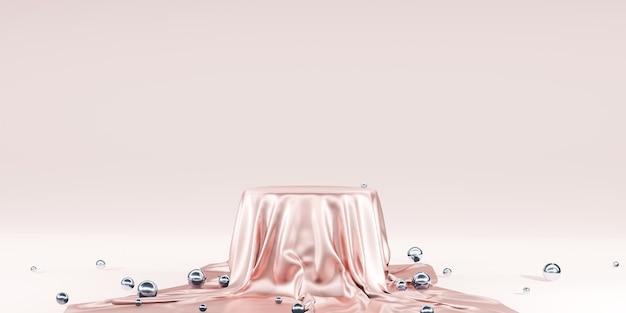 Błyszcząca satyna elegancko umieszczona na pustym cokole półka luksusowa koncepcja galeria tło produkt