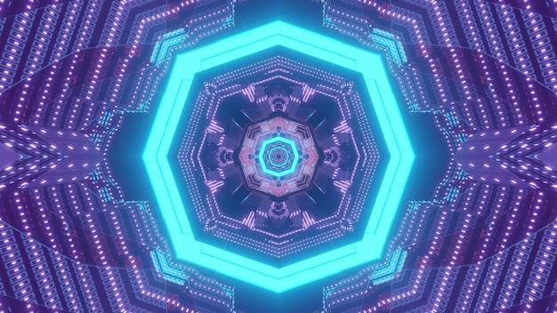 Błyszczące 3d ilustracji abstrakcyjne tło wizualne z niebieskim neonowym ośmiokątem i migającymi fioletowymi kropkami tworzącymi perspektywiczny ornament geometryczny