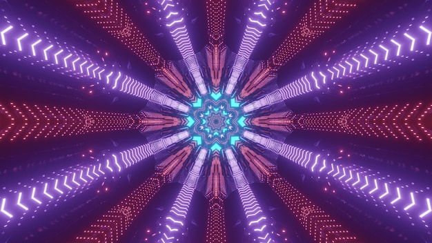 Błyszczące 3d ilustracji abstrakcyjne tło wizualne z symetrycznymi kolorowymi promieniami neonowymi tworzącymi okrągły wzór dla futurystycznych projektów koncepcyjnych science fiction