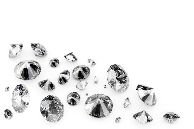 Błyszczące diamenty na białym tle