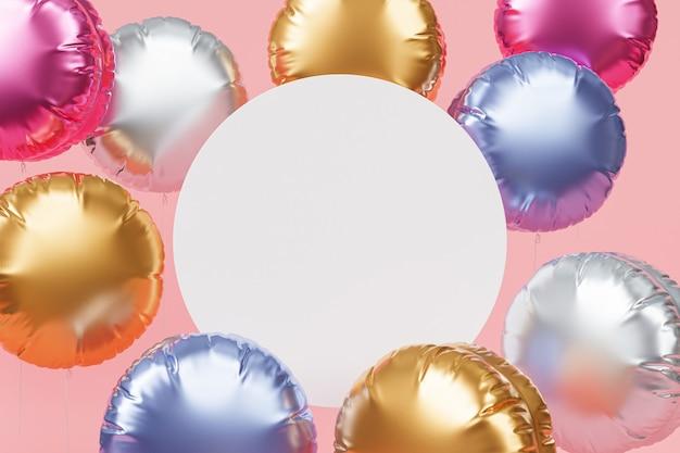 Błyszczące Kolorowe Balony Z Miejscem Na Kopię Na Uroczystość Lub Wakacje Premium Zdjęcia