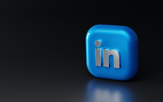 Błyszczące metalowe logo linkedin 3d