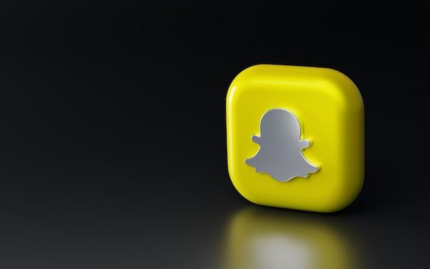 Błyszczące metalowe logo snapchat 3d