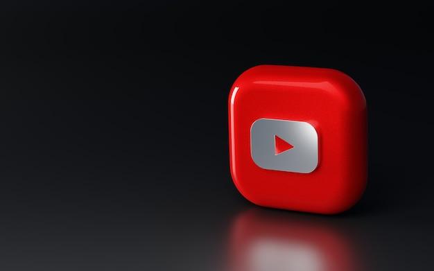 Błyszczące metalowe logo youtube 3d