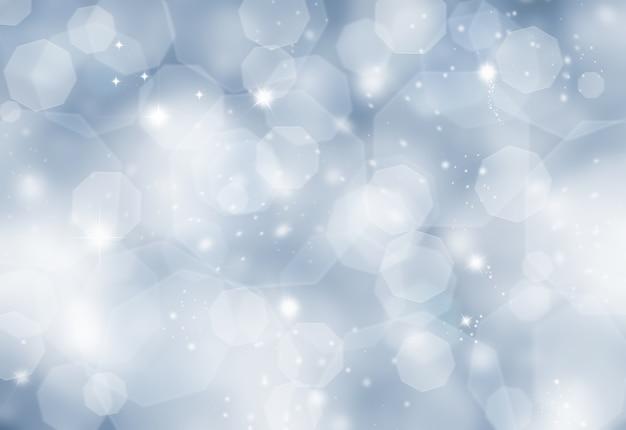 Błyszczące niebieskie tło boże narodzenie z efektem światła bokeh