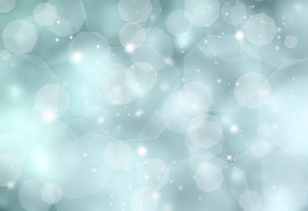 Błyszczące niebieskie tło świąteczne z efektami światła bokeh