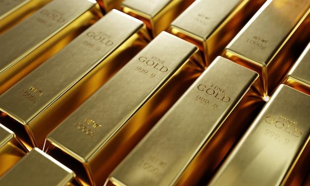 Błyszczące sztabki czystego złota w tle wiersza