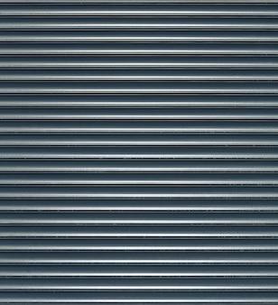 Błyszczące tekstury drzwi roletowych z poziomymi liniami.