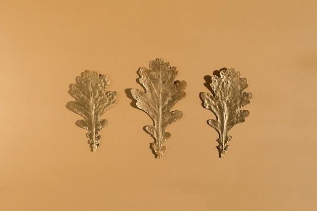 Błyszczące złote liście dębu z rzędu na tle koloru nude. flat lay, top view minimalna jesienna koncepcja kompozycji. z rzędu.