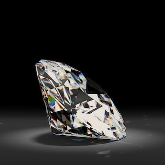 Błyszczący biały diament na czarnym tle.