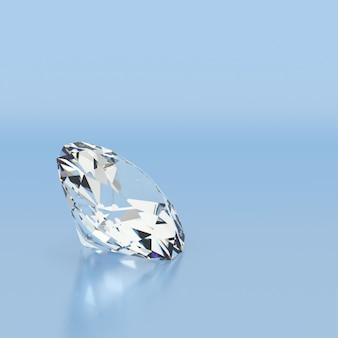 Błyszczący biały diament na niebieskim tle.
