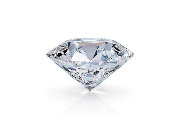 Błyszczący diament na białej powierzchni