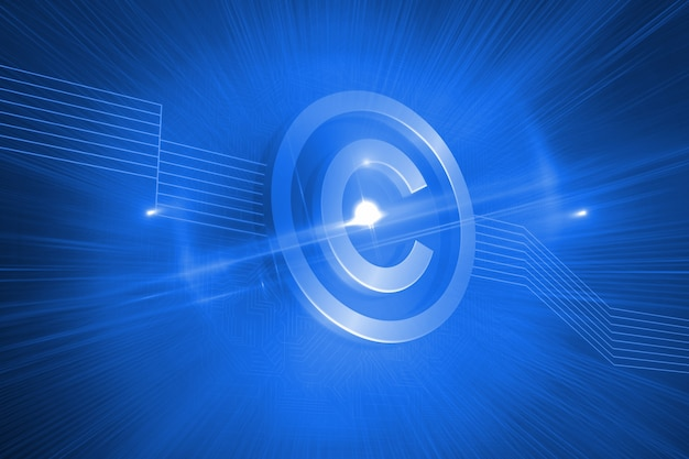 Błyszczący ikona praw autorskich na niebieskim tle